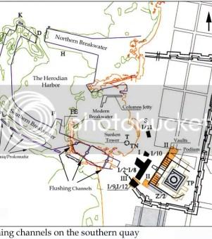 人工港口設計圖,可見排水道和雙層防波堤設計
