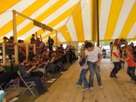 A large group of fiddlers played for the dancers.