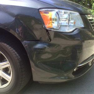 Dent in car fender