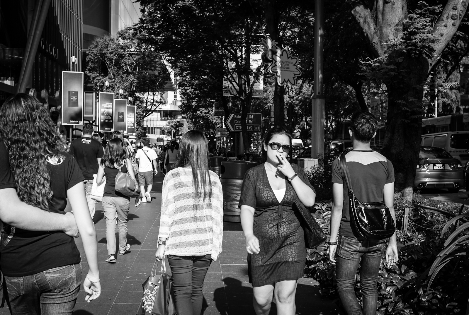 People walking along Orchard Road