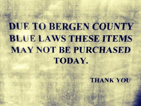 Blue Law Bergen County NJ