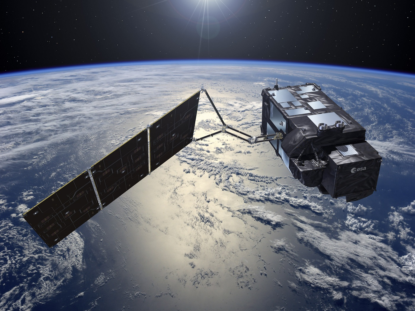 Artist's view of the Sentinel 3A over the earth. The Sentinel 3A includes IberEspacio Heat Pipes and Thermal Blankets.