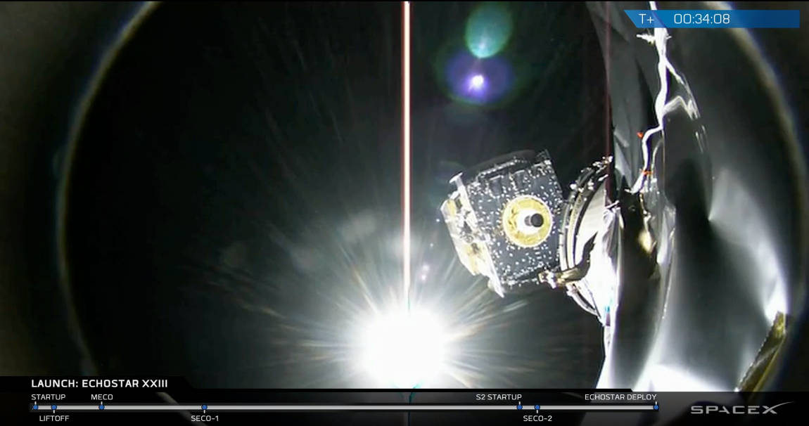 Echostar XXIII in orbit after Falcon 9 launch, courtesy of Space X