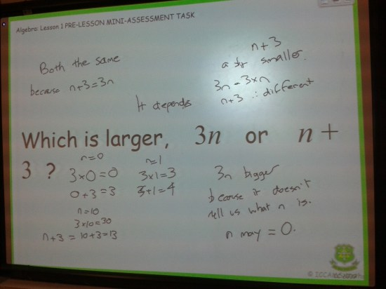 Algebra: Lesson 1 Pre-Lesson Mini-Assessment Task - Students' response 1