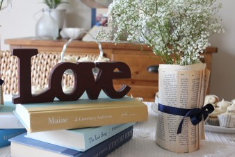 love book stack centerpiece