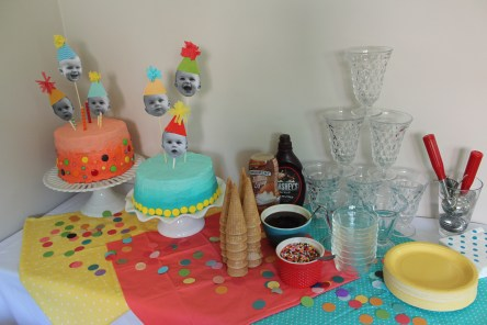 birthday party dessert table