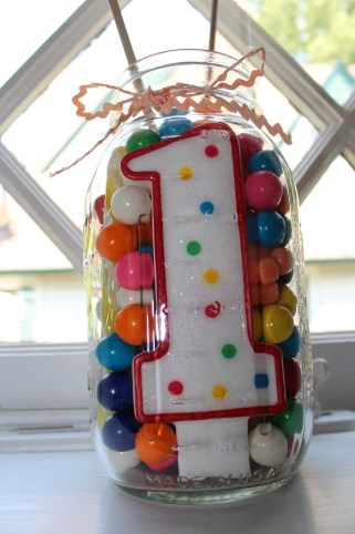 number candle candy jar