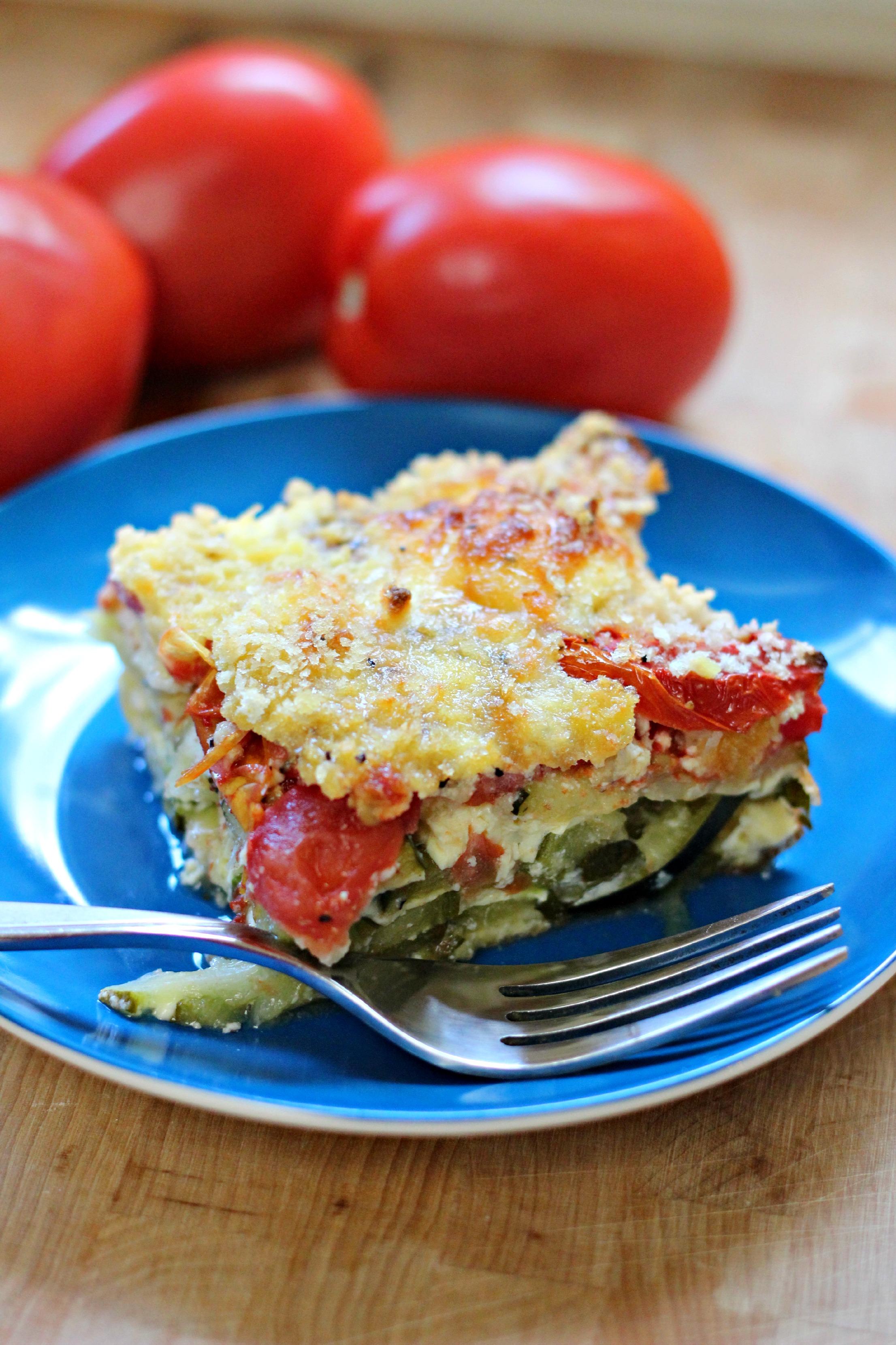 Zucchini Tomato Ricotta Egg Bake