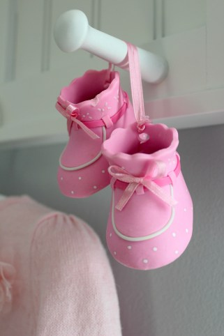 gray and pink nursery baby shoes