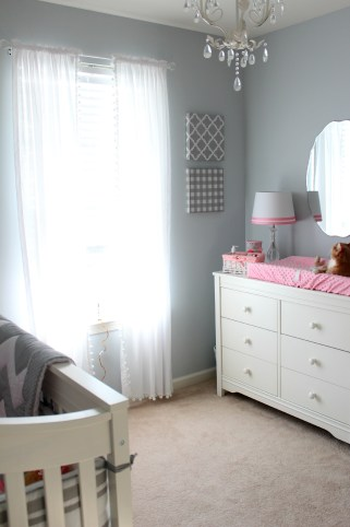 gray and pink nursery room