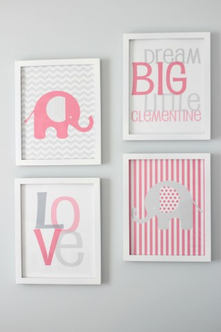 gray and pink nursery wall art
