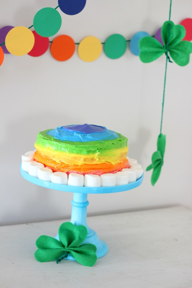St. Patrick's Day rainbow marshmallow cake