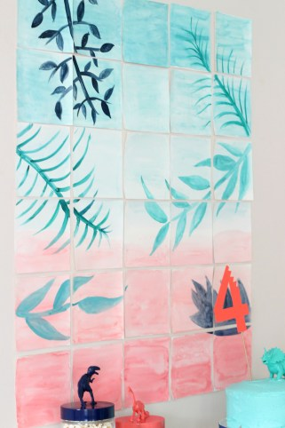 jungle watercolor backdrop party