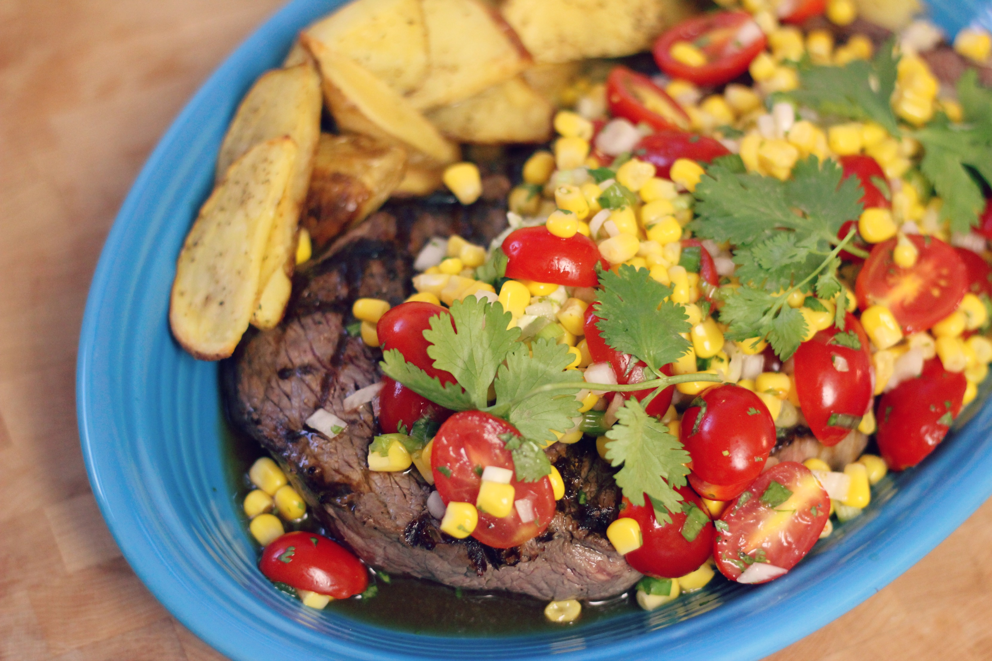 Grilled London Broil with Lime Corn Salad
