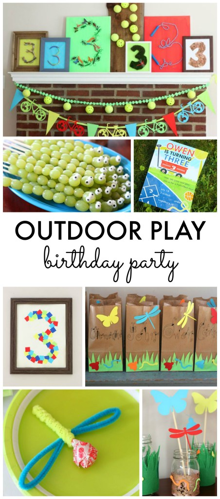 Outdoor Play Birthday Party! Fun outside theme with bugs, mud, bikes, water, wagons, outdoor toys and more