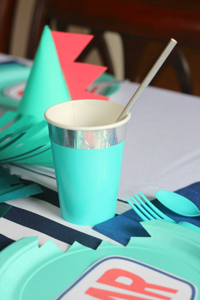 silver washi tape cup with silver straw