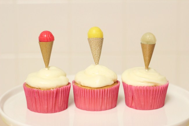 Ice Cream Party Cupcake Toppers - mini ice cream cones made from lollipops