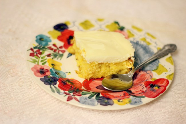 mystery lemon sheet cake with easy topping