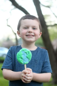 Earth Day Party - Owen with frozen yogurt pop