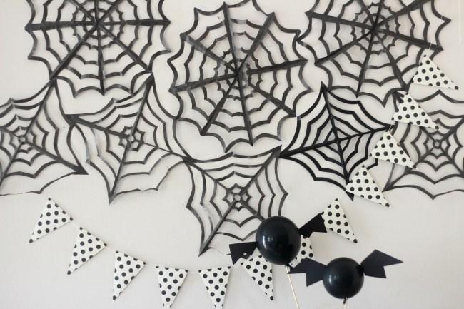 DIY Tissue Paper Spiderwebs