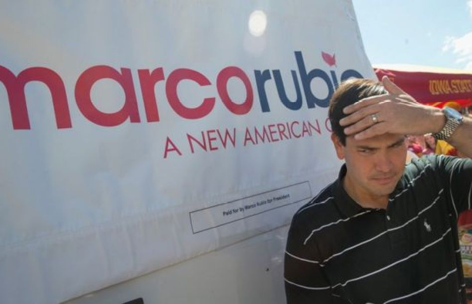 Marco Rubio sweats in the Iowa sun.
