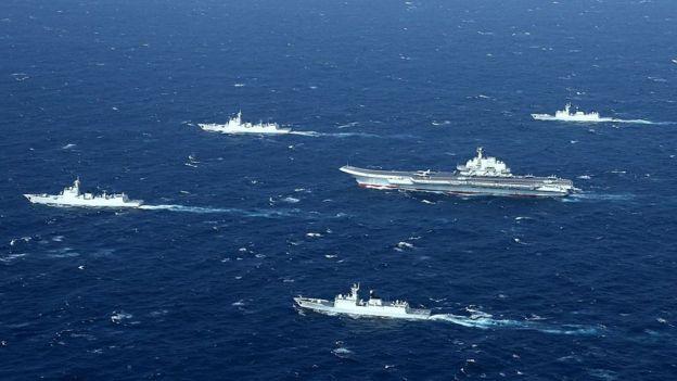 Maniobras militares de China en el Mar de la China Meridional.