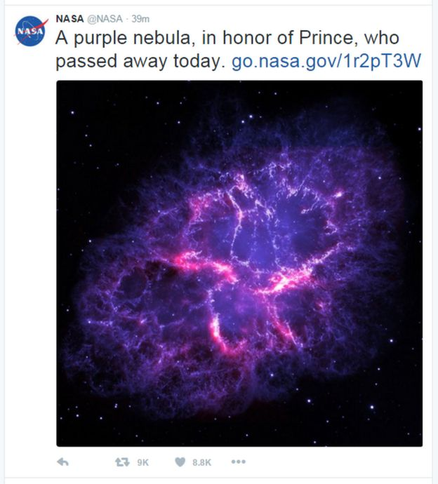 A tweet from Nasa reads: