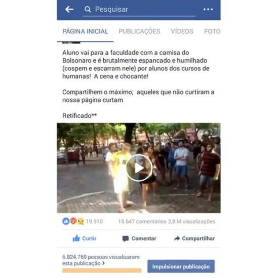 Publicação de grupo em apoio a Bolsonaro no Facebook