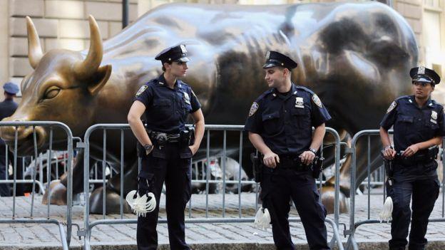 Policía en Wall Street.