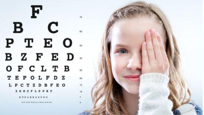 girl having an eye test