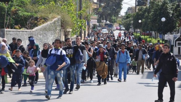 Migrants on the island of Chios protest against the EU deal, 1 April