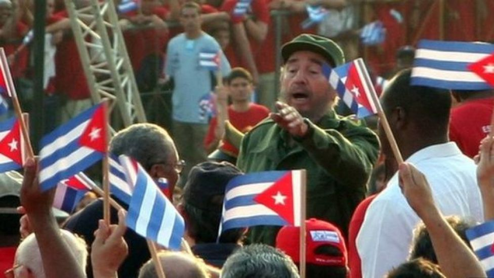 Fidel Castro among Cuban crowds in