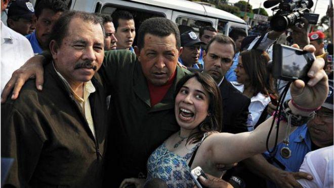 Daniel Ortega y Hugo Chávez en Managua