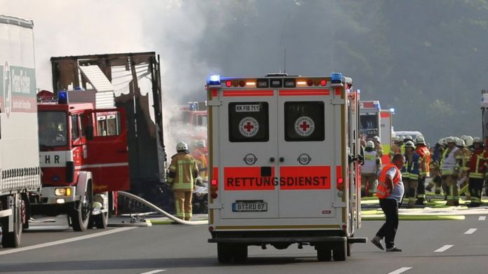 Germany bus crash: Dozens hurt and 17 missing