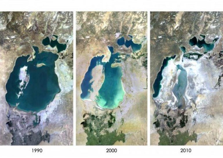 Secuencia de fotografías que muestran la contracción del mar Aral, en Asia Central