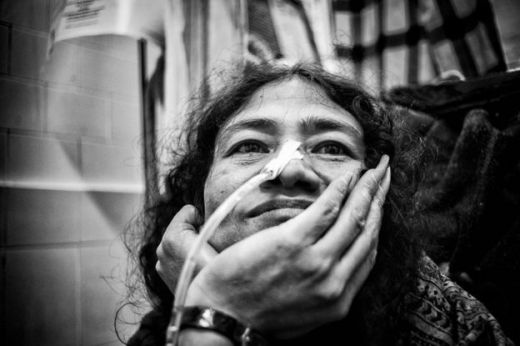 Irom Sharmila sits within her room at the Jawaharlal Nehru Institute of Medical Sciences Hospital in Imphal on December 17, 2013