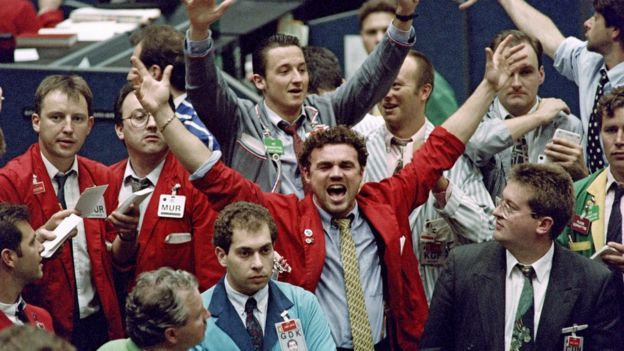 Traders on the floor of the London International Financial Futures and Option Exchange, 1992