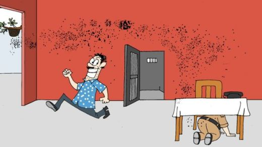 A cartoon shows a suspect running out a police station that came under attack from honey bees