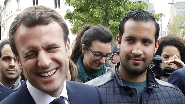 Macron aide Alexandre Benalla to be dismissed after protesters     The then French presidential candidate Emmanuel Macron  C  of the  En  Marche