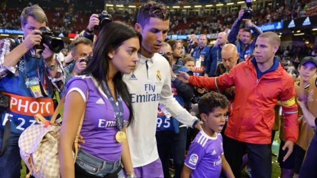 Cristiano Ronaldo, girlfriend Georgina Rodriguez and son Cristiano Ronaldo Jr after Real Madrid win Uefa Champions League on 3 June