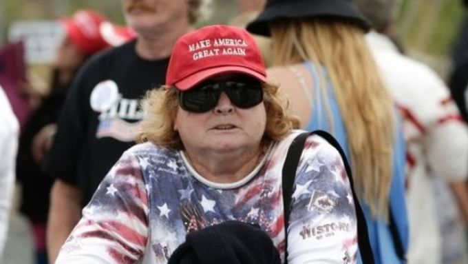Trump supporter wearing Make America Great Again hat