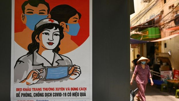 A coronavirus prevention poster in Hanoi, Vietnam