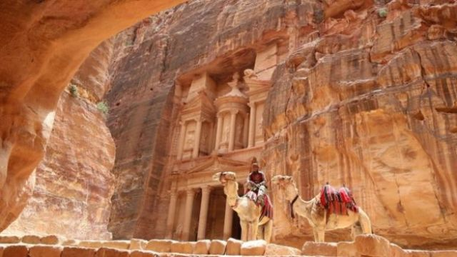 The Treasury Building in the ancient city of Petra