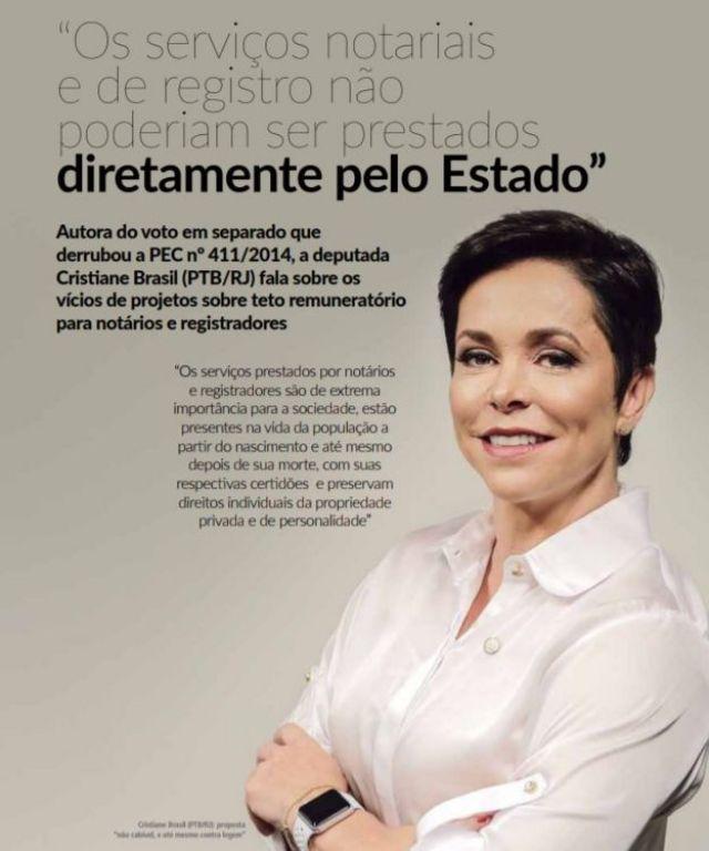Página da revista da Anoreg com retrato de Cristiane Brasil