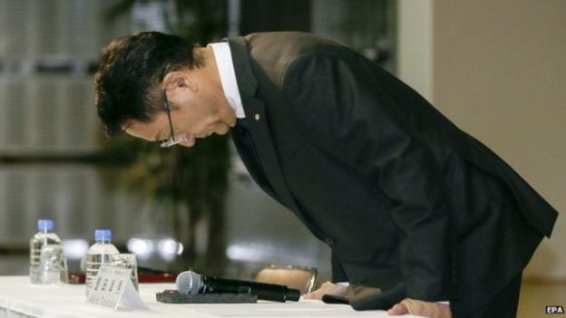 Toyota Motor Corp. President and Chief Executive Officer Akio Toyoda bows deeply for apology
