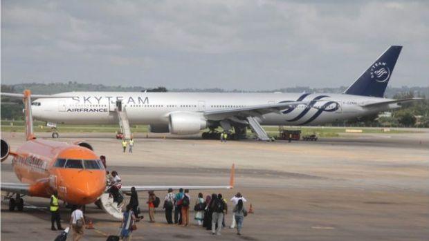 The Boeing 777 Air France flight 463 parked at Moi International Airport in Kenyan coastal city Mombasa, 20 December 2015.