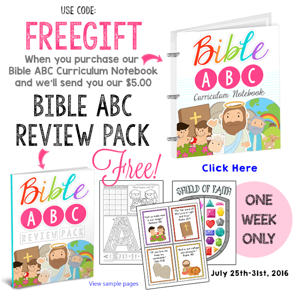 Get a Free Bible ABC Review Pack with Bible ABC Curriculum Notebook
