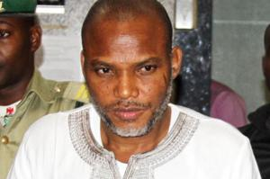 Leader of IPOB, Nnamdi Kanu has been slammed with treason charges by the Federal Government