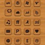Icônes sociales en bois