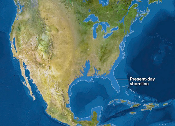 Florida completely submerged if/when all ice melts in the Arctic and Antarctica